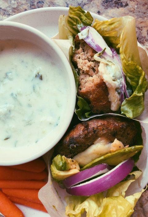 lamb burgers with homemade tzatziki