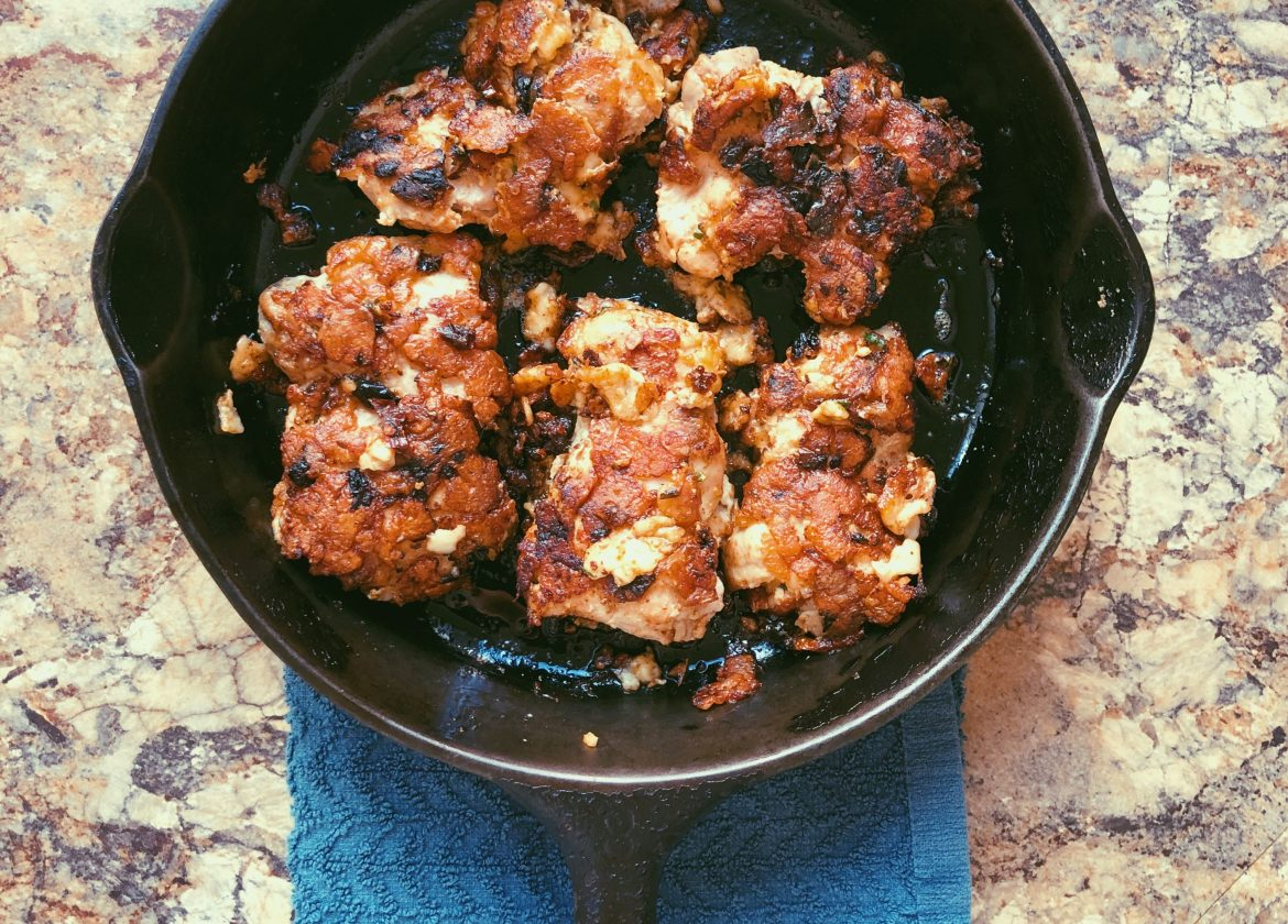 parmesan & sun-dried-tomato-crusted chicken thighs