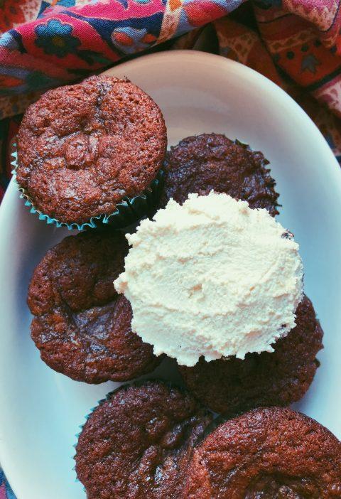 grain free vanilla caramel swirl cupcakes