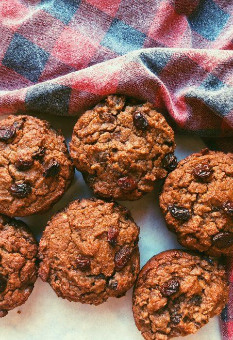 """raisin """"bran"""" muffins, grain free, scd diet"""