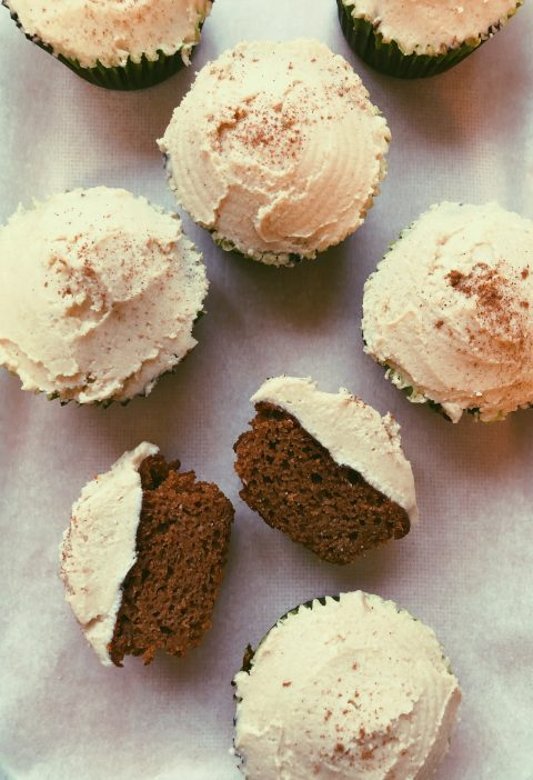 grain free gingerbread cupcake with cashew buttercream frosting