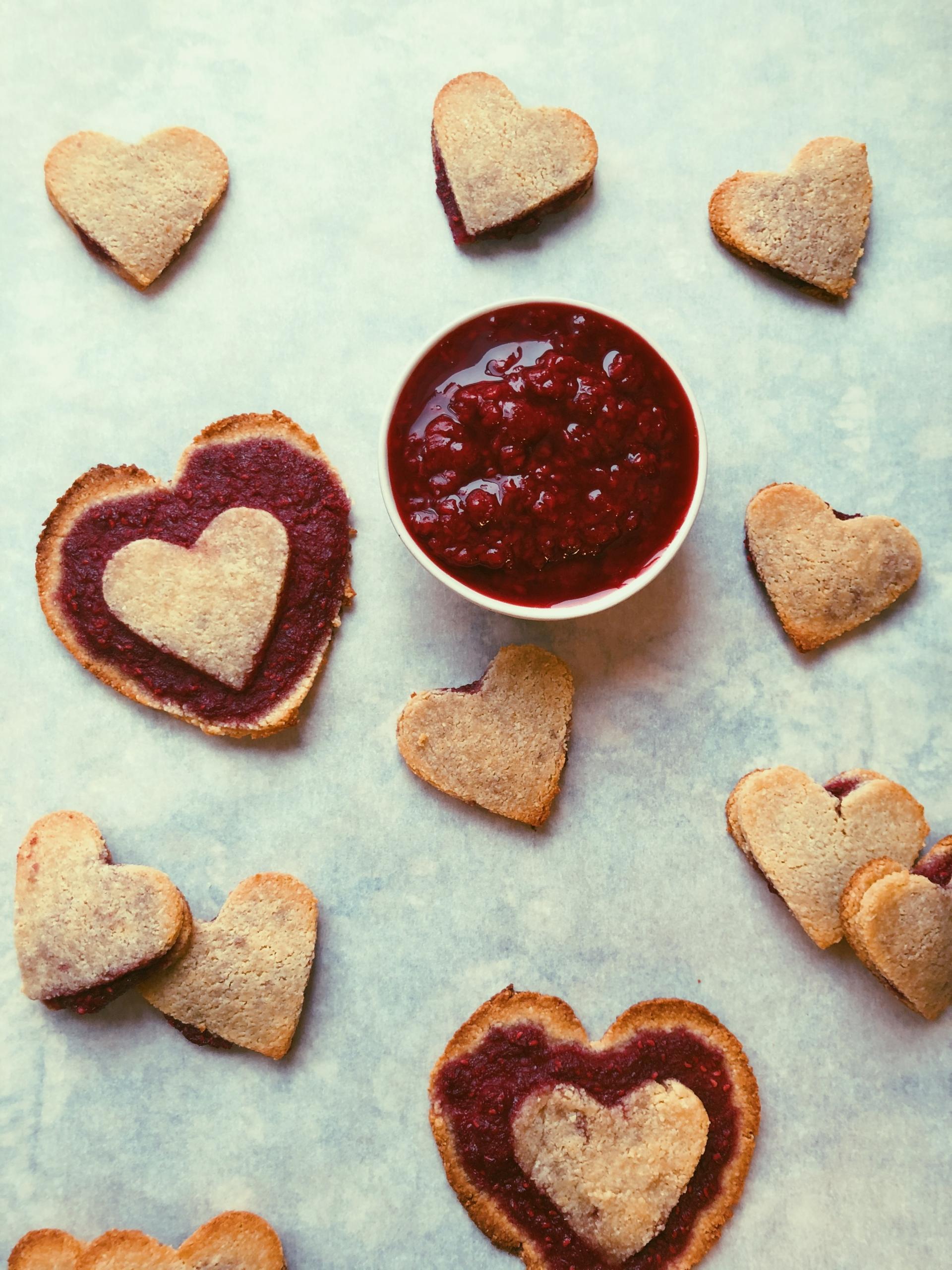 raspberry jam-filled cookies, grain free, scd diet, refined sugar free