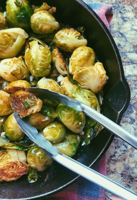 easy lemon garlic pan-fried brussel sprouts