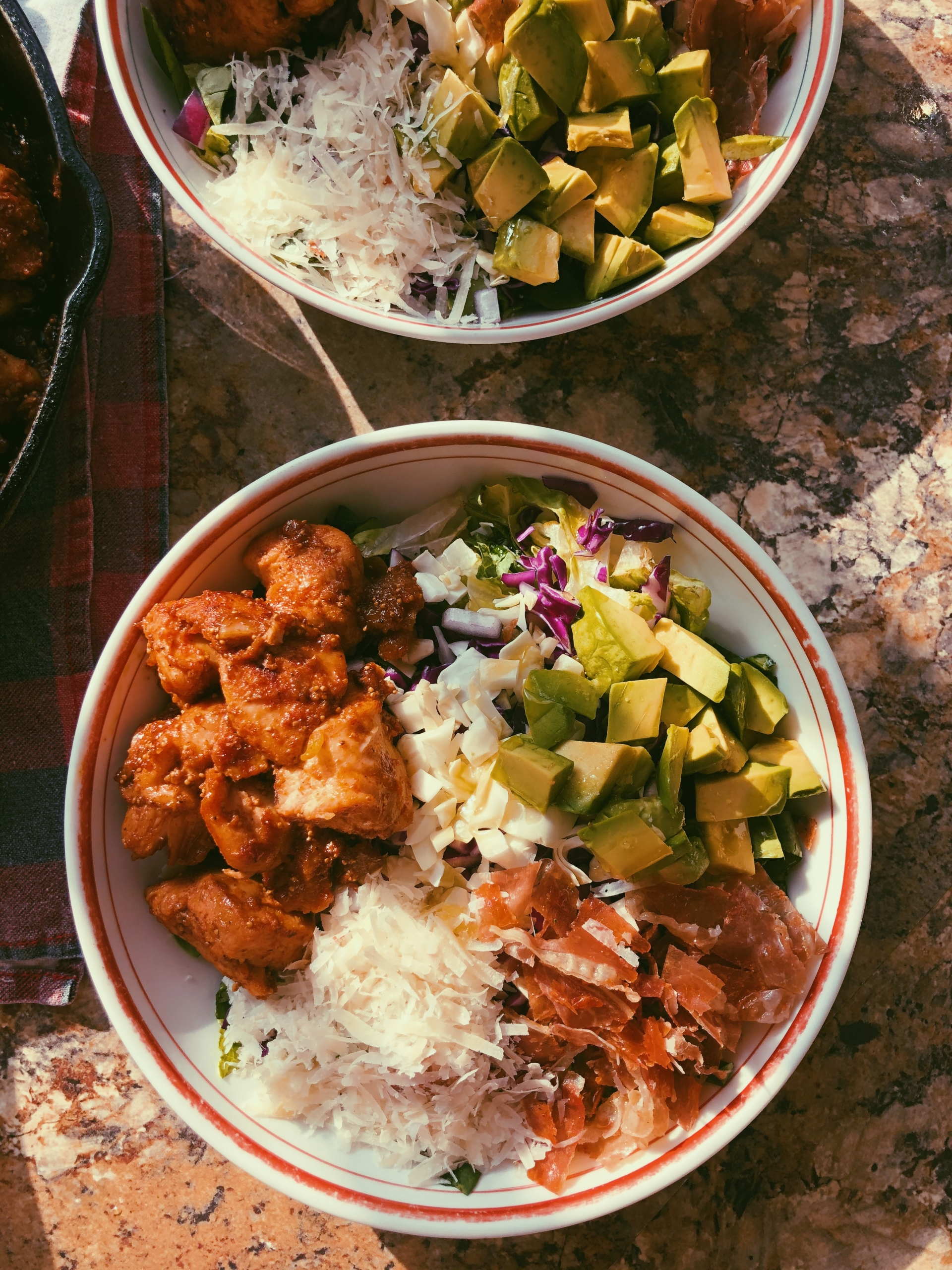 figgy pan-fried chicken and prosciutto with avocado salad