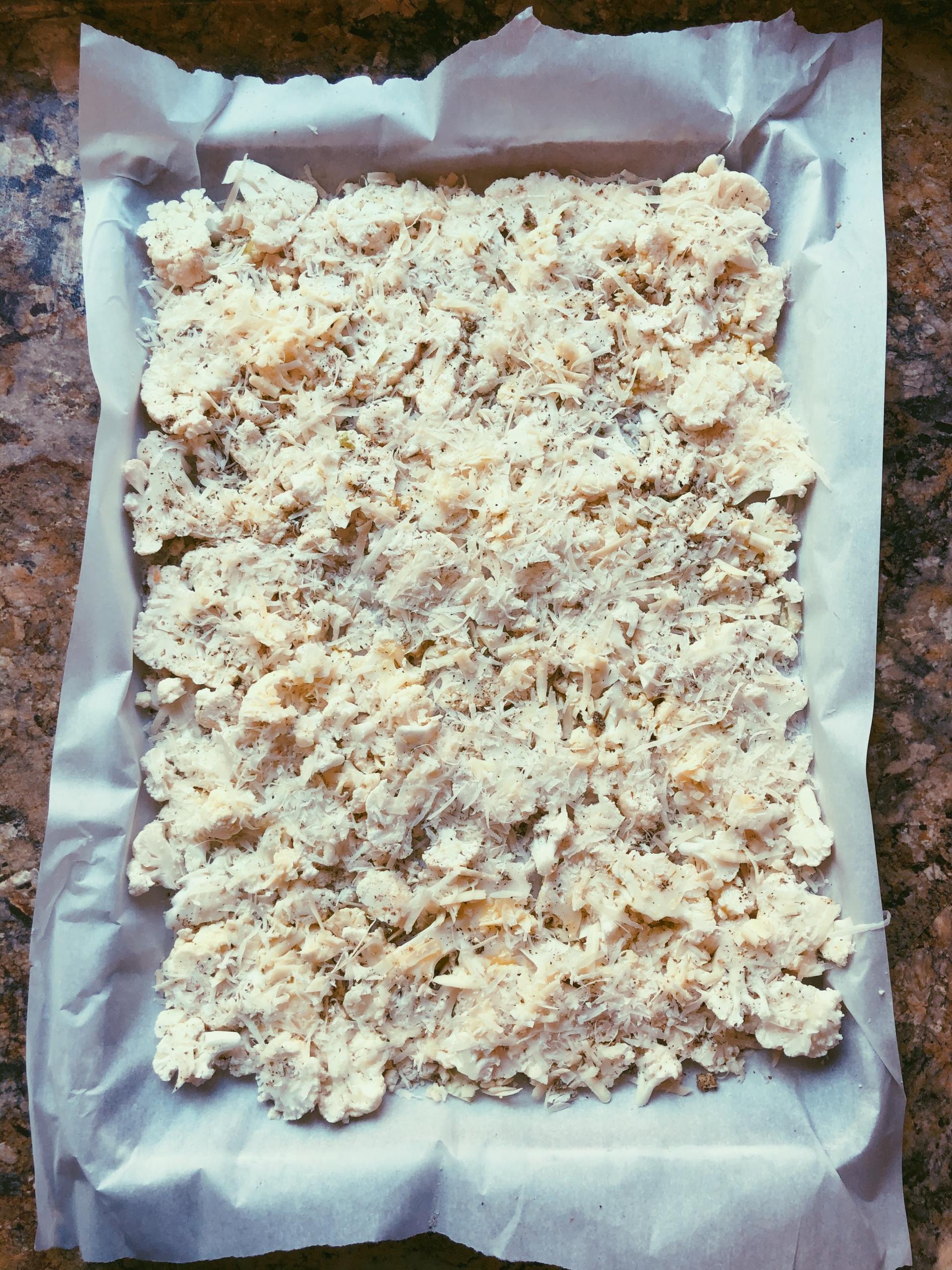 easy cheesy sheet pan cauliflower, grain free, scd diet