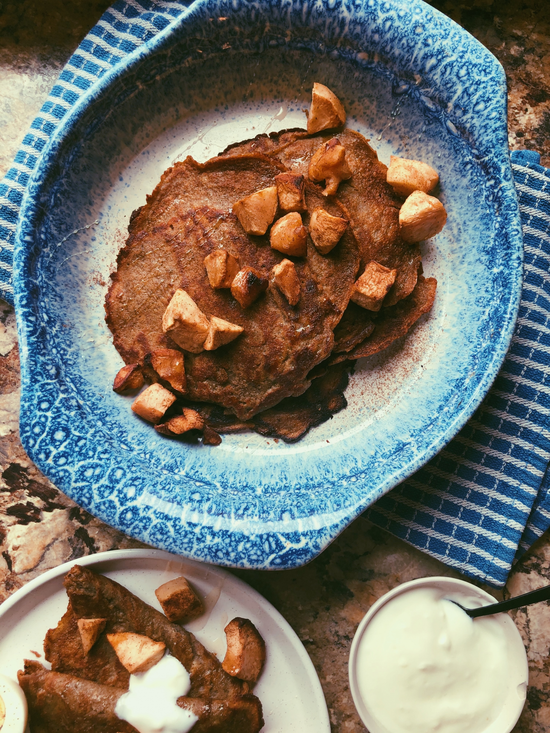 cinnamon chai crepes with baked apples and yogurt (grain free, scd diet)
