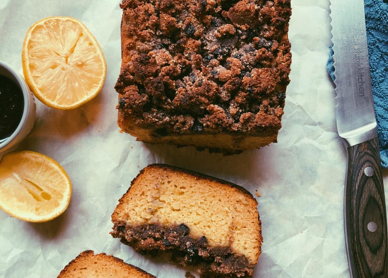 lemon olive oil loaf with blueberry cinnamon streusel