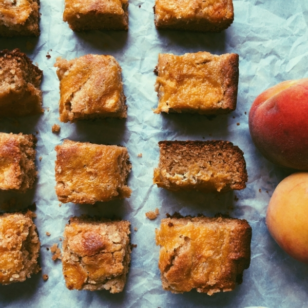 brown butter and tahini peach blondies