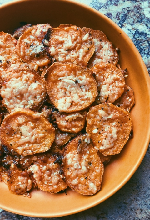 sweet potato parmesan crisps with garlic butter